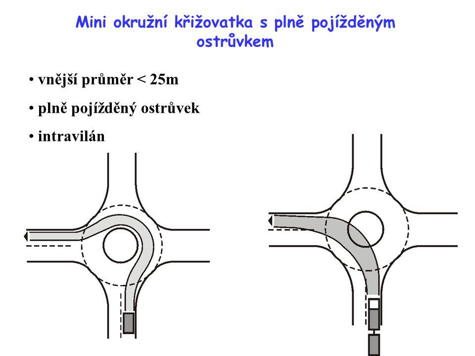 Mini okružní křižovatka s plně pojížděným ostrůvkem vnější průměr < 25m plně pojížděný ostrůvek intravilán