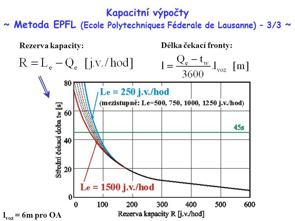 Kapacitní výpočty ~ Metoda EPFL (Ecole Polytechniques Féderale de Lausanne) – 3/3 ~ Rezerva kapacity: Délka čekací fronty: l voz = 6m pro OA