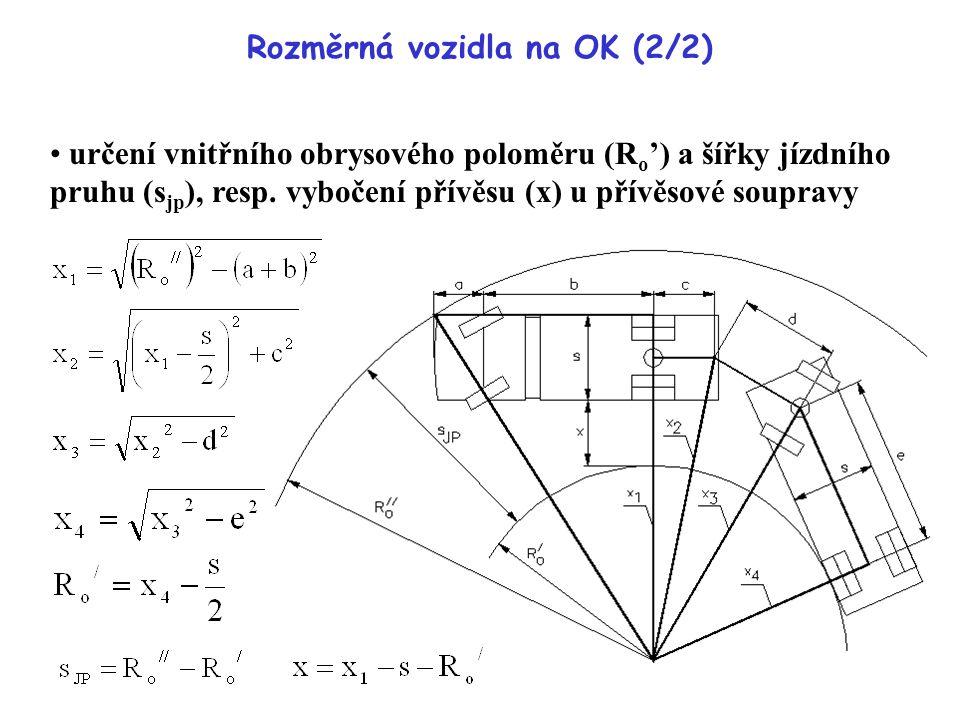 Rozměrná vozidla na OK (2/2) určení vnitřního obrysového poloměru (R o ') a šířky jízdního pruhu (s jp ), resp. vybočení přívěsu (x) u přívěsové soupr