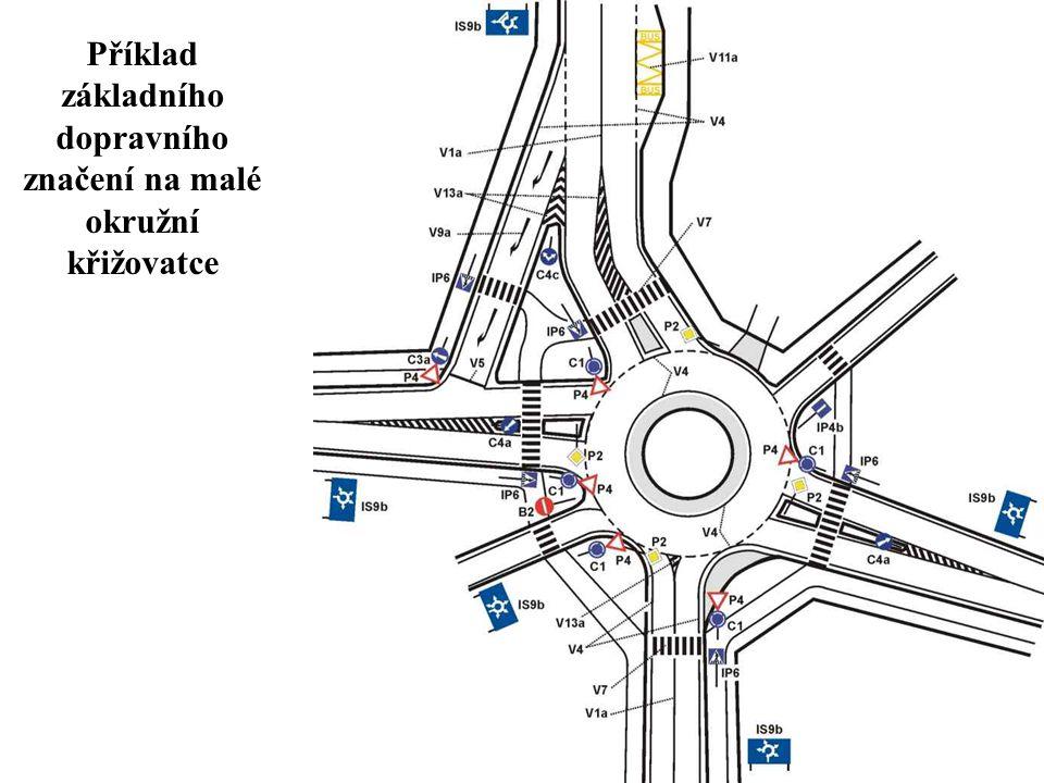 Příklad základního dopravního značení na malé okružní křižovatce