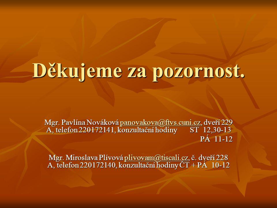 Děkujeme za pozornost. Mgr. Pavlína Nováková panovakova@ftvs.cuni.cz, dveří 229 A, telefon 220172141, konzultační hodiny ST 12,30-13 panovakova@ftvs.c