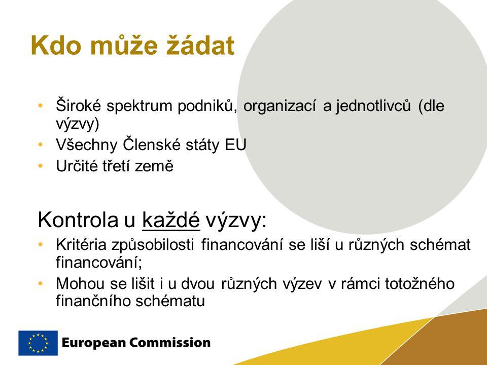 Kdo může žádat Široké spektrum podniků, organizací a jednotlivců (dle výzvy) Všechny Členské státy EU Určité třetí země Kontrola u každé výzvy: Kritéria způsobilosti financování se liší u různých schémat financování; Mohou se lišit i u dvou různých výzev v rámci totožného finančního schématu