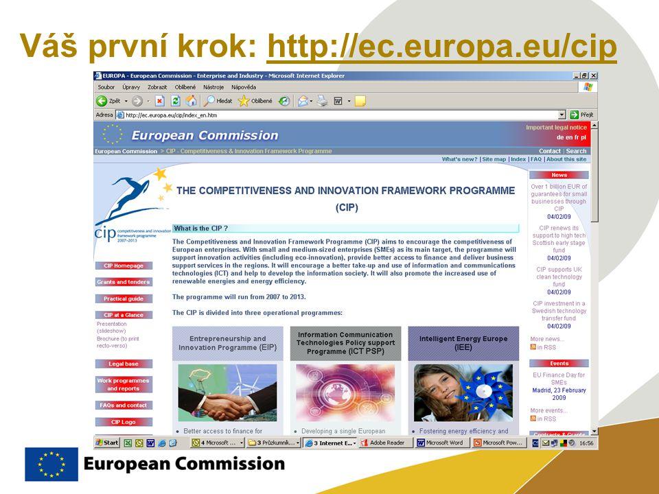 Váš první krok: http://ec.europa.eu/cip