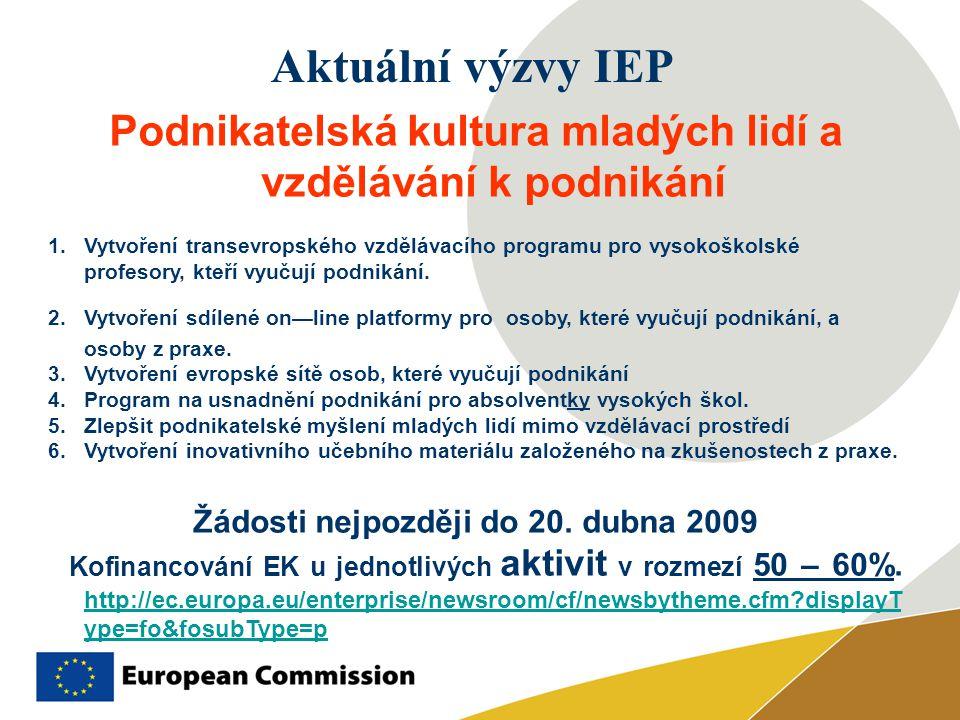 Aktuální výzvy IEP Podnikatelská kultura mladých lidí a vzdělávání k podnikání 1.Vytvoření transevropského vzdělávacího programu pro vysokoškolské profesory, kteří vyučují podnikání.