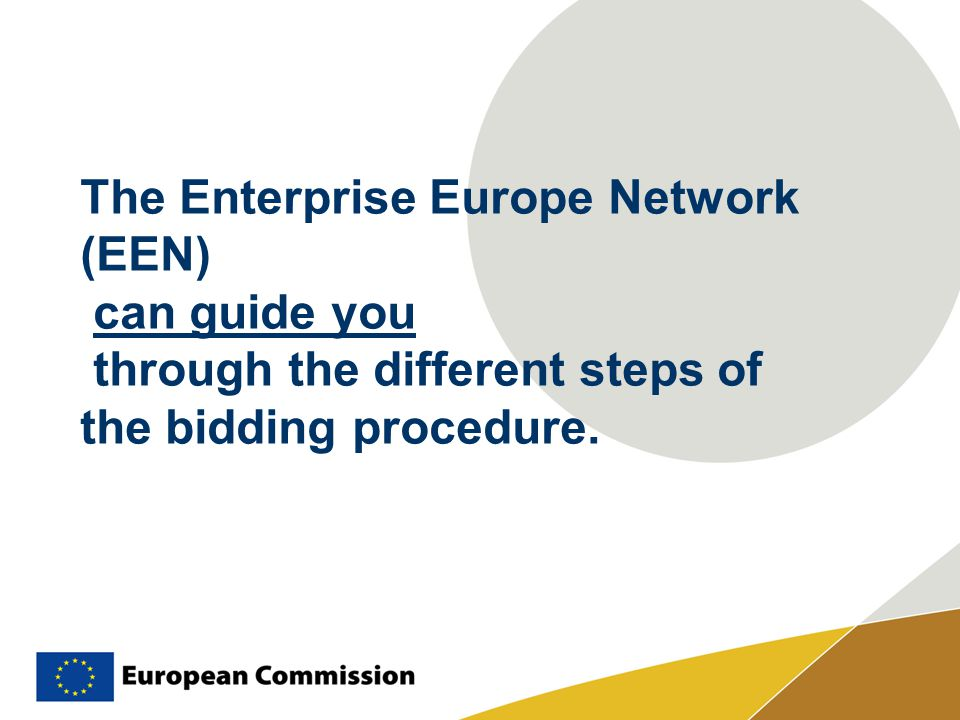 The Enterprise Europe Network (EEN) can guide you through the different steps of the bidding procedure.