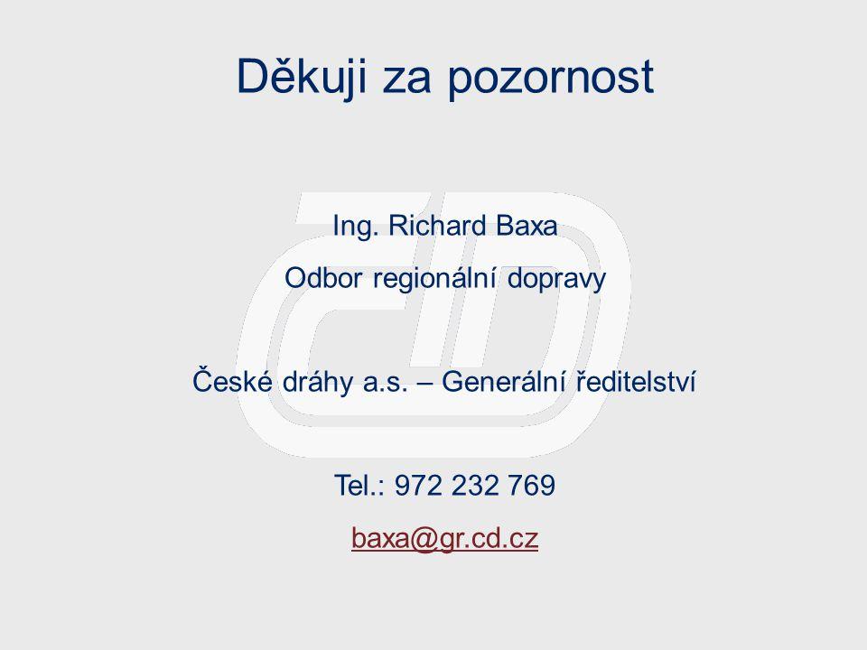 Děkuji za pozornost Ing. Richard Baxa Odbor regionální dopravy České dráhy a.s.