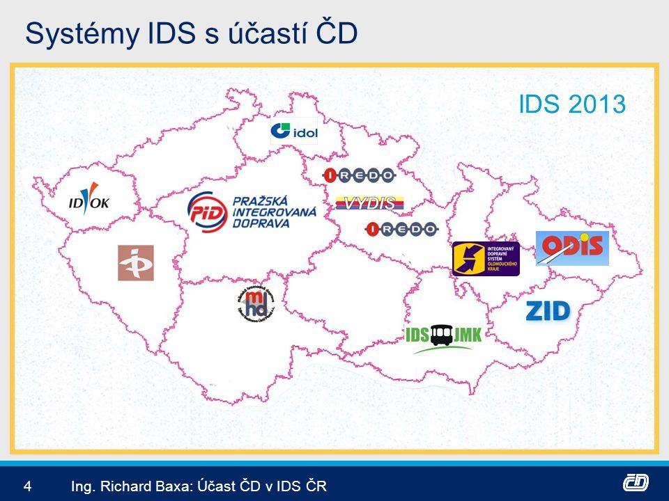 4Ing. Richard Baxa: Účast ČD v IDS ČR Systémy IDS s účastí ČD IDS 2013