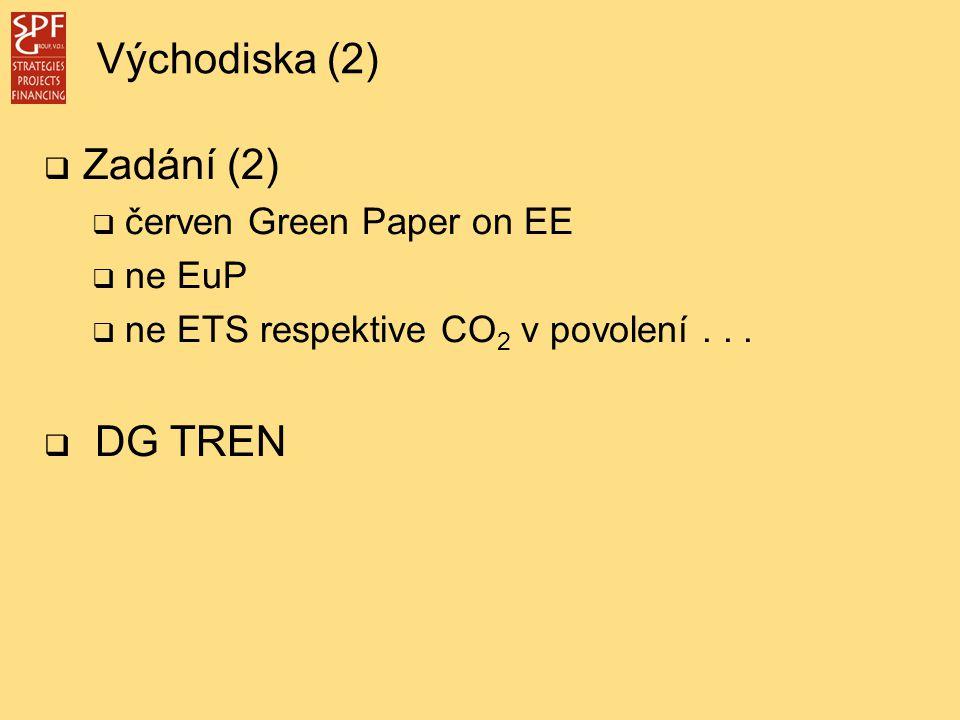  Zadání (2)  červen Green Paper on EE  ne EuP  ne ETS respektive CO 2 v povolení...