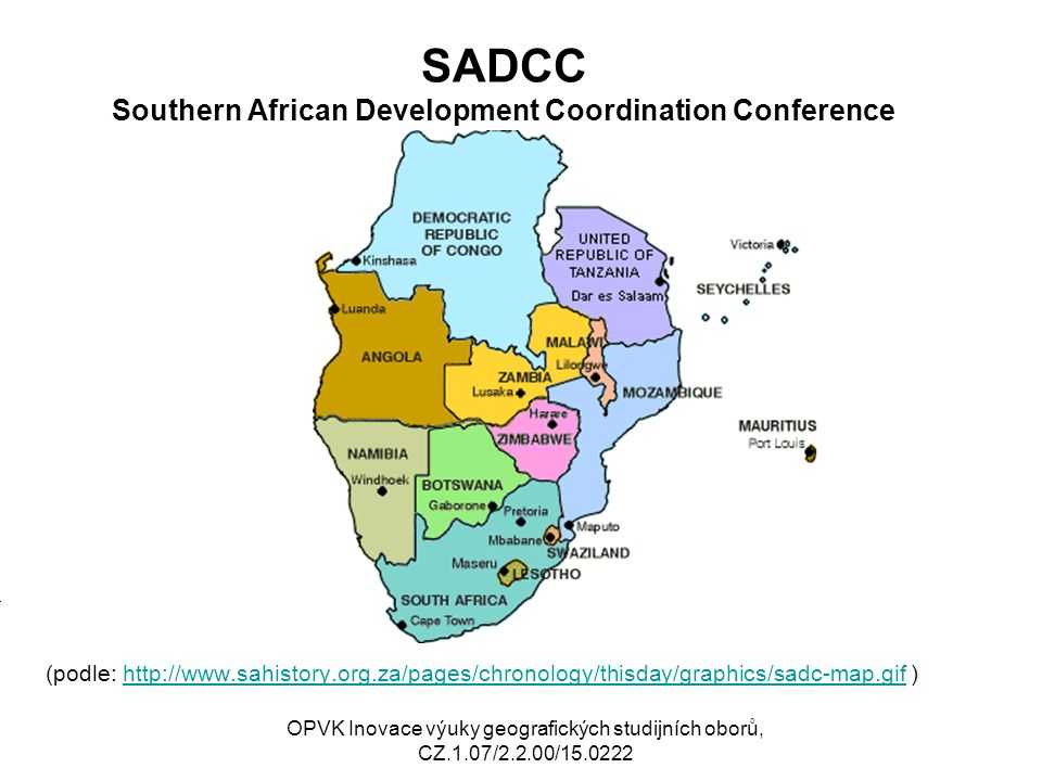 SADCC Southern African Development Coordination Conference (podle: http://www.sahistory.org.za/pages/chronology/thisday/graphics/sadc-map.gif )http://