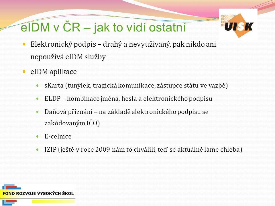 eIDM v ČR – jak to vidí ostatní Elektronický podpis – drahý a nevyuživaný, pak nikdo ani nepoužívá eIDM služby eIDM aplikace sKarta (tunýlek, tragická