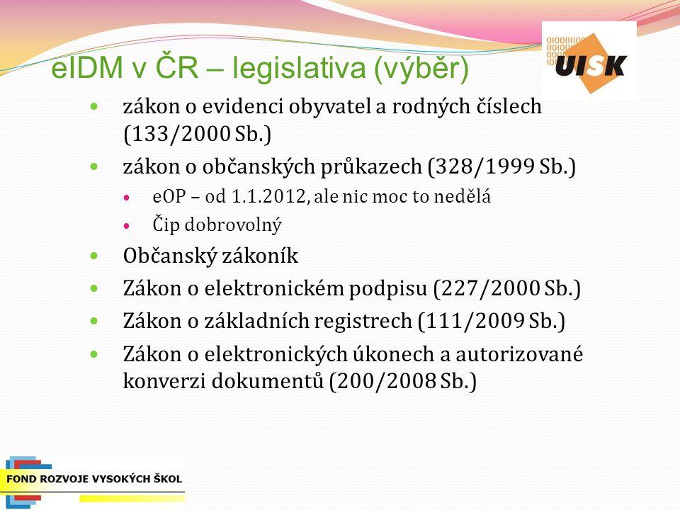eIDM v ČR – legislativa (výběr) zákon o evidenci obyvatel a rodných číslech (133/2000 Sb.) zákon o občanských průkazech (328/1999 Sb.) eOP – od 1.1.20