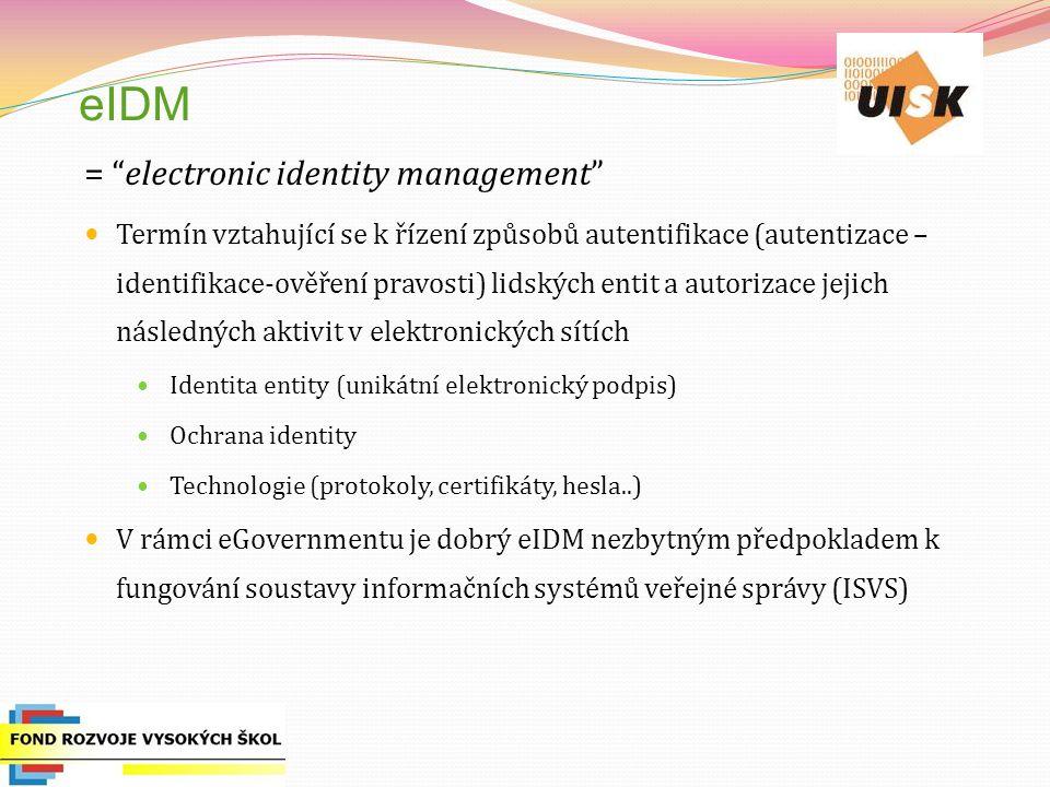 eIDM = electronic identity management Termín vztahující se k řízení způsobů autentifikace (autentizace – identifikace-ověření pravosti) lidských entit a autorizace jejich následných aktivit v elektronických sítích Identita entity (unikátní elektronický podpis) Ochrana identity Technologie (protokoly, certifikáty, hesla..) V rámci eGovernmentu je dobrý eIDM nezbytným předpokladem k fungování soustavy informačních systémů veřejné správy (ISVS)