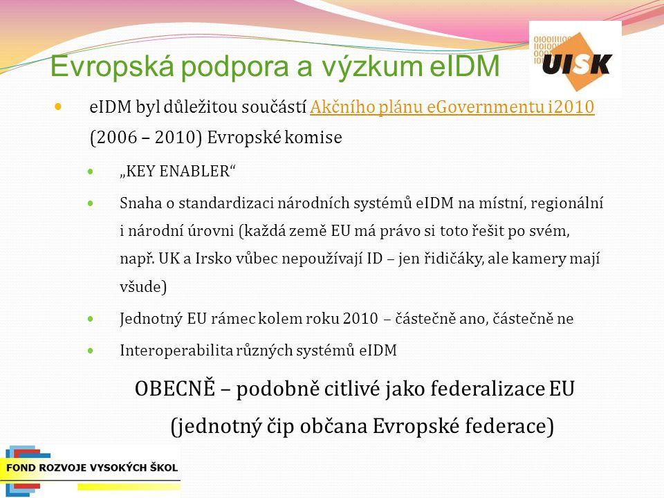 Evropská podpora a výzkum eIDM eIDM byl důležitou součástí Akčního plánu eGovernmentu i2010 (2006 – 2010) Evropské komiseAkčního plánu eGovernmentu i2