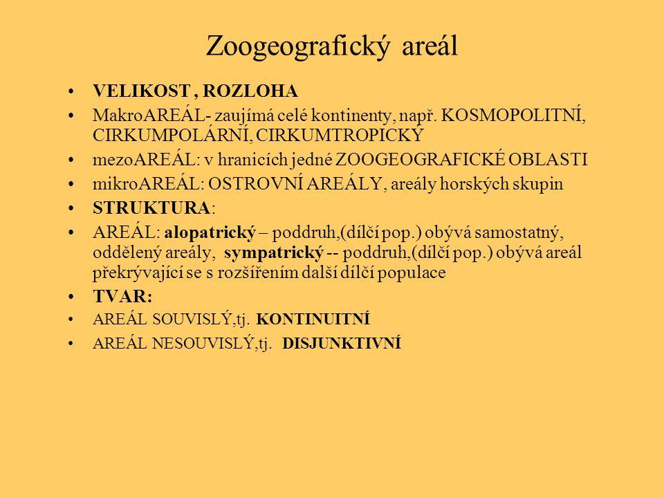 Zoogeografický areál VELIKOST, ROZLOHA MakroAREÁL- zaujímá celé kontinenty, např. KOSMOPOLITNÍ, CIRKUMPOLÁRNÍ, CIRKUMTROPICKÝ mezoAREÁL: v hranicích j