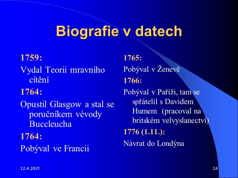 12.4.201524 Biografie v datech 1759: Vydal Teorii mravního cítění 1764: Opustil Glasgow a stal se poručníkem vévody Buccleucha 1764: Pobýval ve Franci