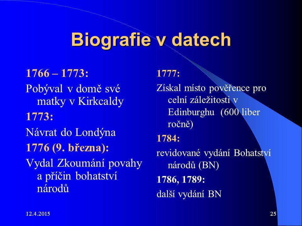 12.4.201525 Biografie v datech 1766 – 1773: Pobýval v domě své matky v Kirkcaldy 1773: Návrat do Londýna 1776 (9. března): Vydal Zkoumání povahy a pří