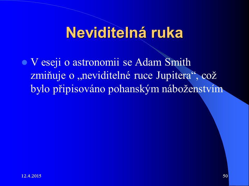"""Neviditelná ruka V eseji o astronomii se Adam Smith zmiňuje o """"neviditelné ruce Jupitera"""", což bylo připisováno pohanským náboženstvím 12.4.201550"""
