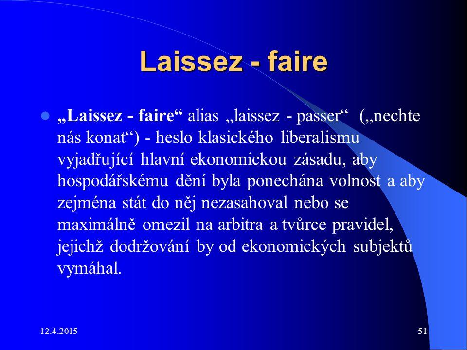 """Laissez - faire """"Laissez - faire"""" alias """"laissez - passer"""" (""""nechte nás konat"""") - heslo klasického liberalismu vyjadřující hlavní ekonomickou zásadu,"""