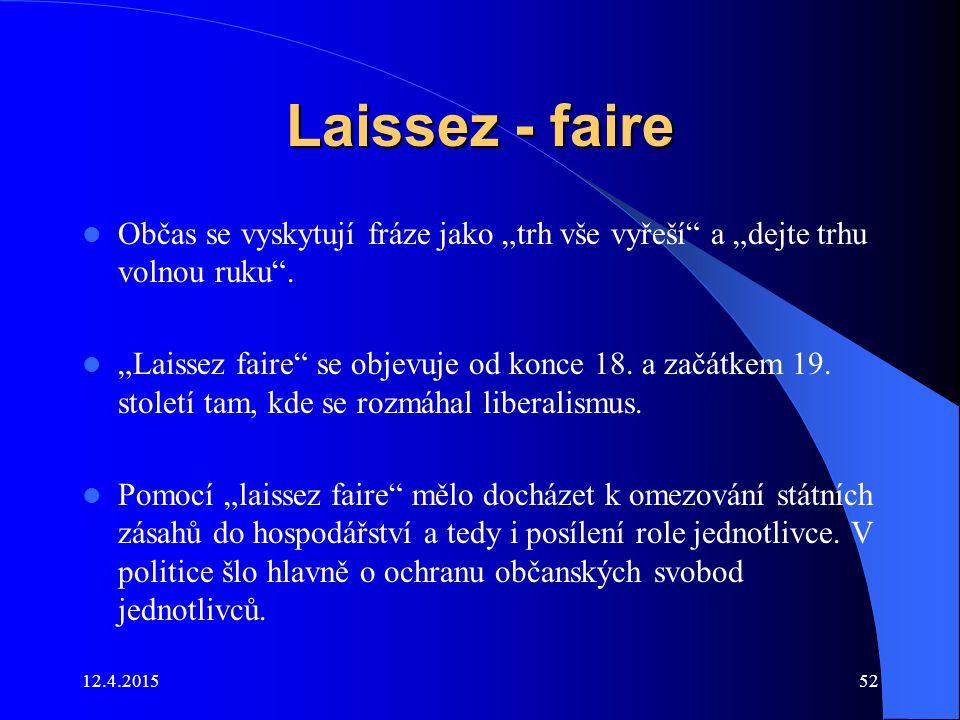 """Laissez - faire Občas se vyskytují fráze jako """"trh vše vyřeší"""" a """"dejte trhu volnou ruku"""". """"Laissez faire"""" se objevuje od konce 18. a začátkem 19. sto"""