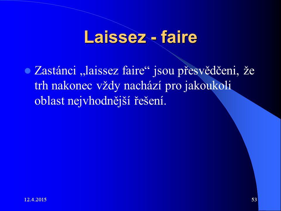 """Laissez - faire Zastánci """"laissez faire"""" jsou přesvědčeni, že trh nakonec vždy nachází pro jakoukoli oblast nejvhodnější řešení. 12.4.201553"""