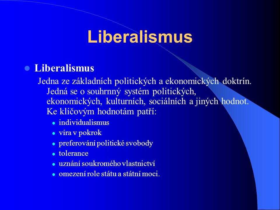 Liberalismus Jedna ze základních politických a ekonomických doktrín. Jedná se o souhrnný systém politických, ekonomických, kulturních, sociálních a ji