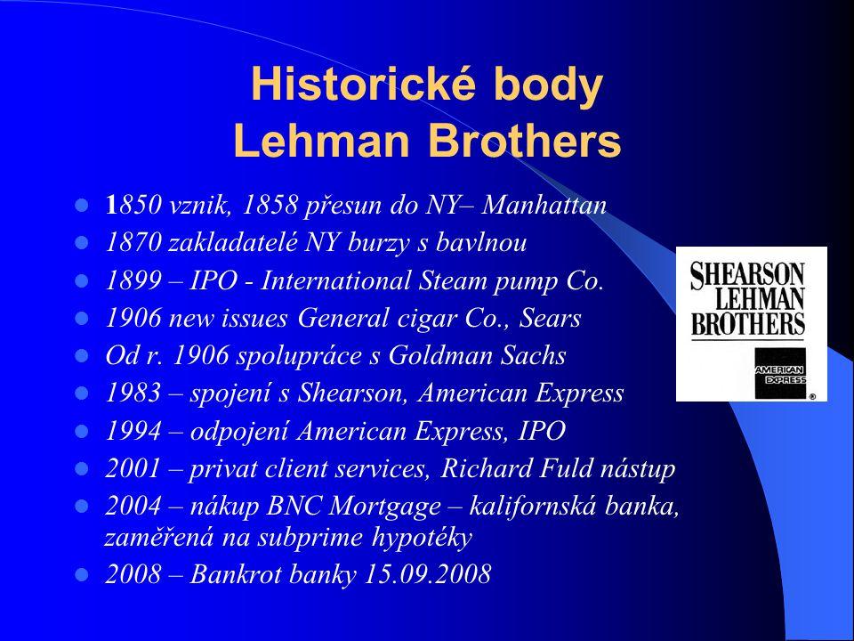 Historické body Lehman Brothers 1850 vznik, 1858 přesun do NY– Manhattan 1870 zakladatelé NY burzy s bavlnou 1899 – IPO - International Steam pump Co.