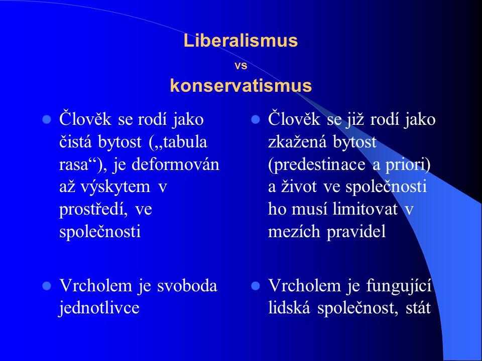 """Liberalismus vs konservatismus Člověk se rodí jako čistá bytost (""""tabula rasa""""), je deformován až výskytem v prostředí, ve společnosti Vrcholem je svo"""