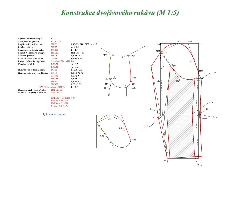 Konstrukce dvojšvového rukávu (M 1:5) 1. přední průramková př.5 2. nadpažková přímkan  5  N5 3. výška rukávové hlaviceN5 H50,45(H31 N4 + H51 N4´) -