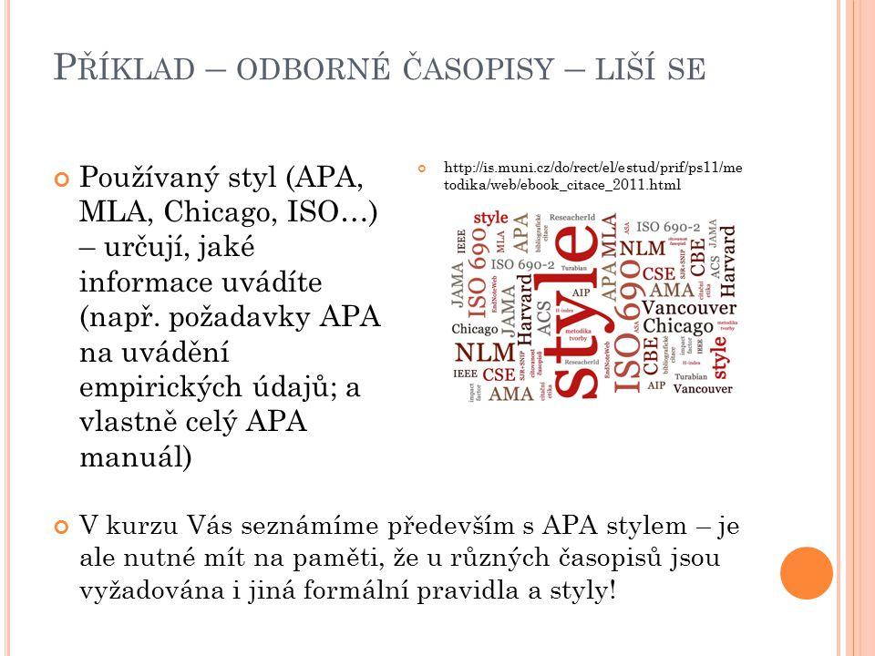 P ŘÍKLAD – ODBORNÉ ČASOPISY – LIŠÍ SE Používaný styl (APA, MLA, Chicago, ISO…) – určují, jaké informace uvádíte (např.