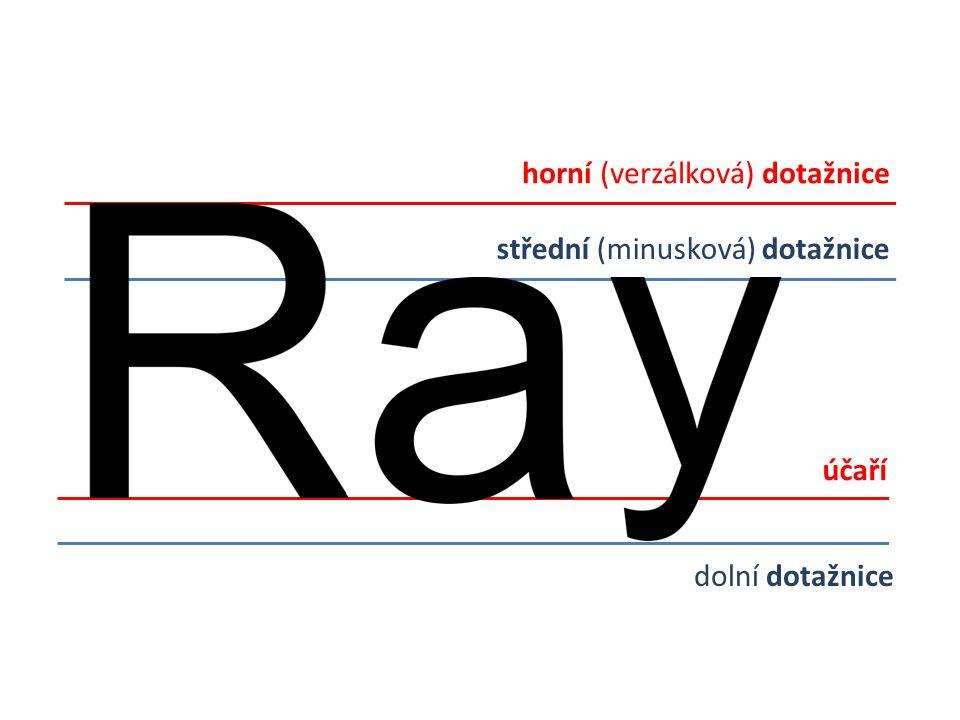 Písmový přesah písmen s obloukem Vzniká proto, abychom vyrovnali optický klam: písma zakončená obloukem by se nám totiž zdála nižší než ta, která jsou zakončena rovně.