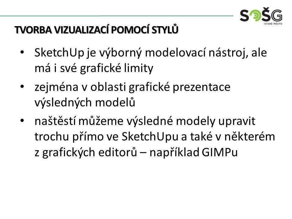 TVORBA VIZUALIZACÍ POMOCÍ STYLŮ SketchUp je výborný modelovací nástroj, ale má i své grafické limity zejména v oblasti grafické prezentace výsledných modelů naštěstí můžeme výsledné modely upravit trochu přímo ve SketchUpu a také v některém z grafických editorů – například GIMPu