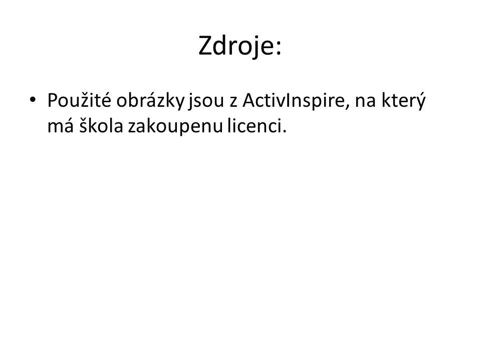 Zdroje: Použité obrázky jsou z ActivInspire, na který má škola zakoupenu licenci.