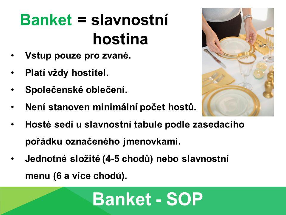 Banket = slavnostní hostina Vstup pouze pro zvané. Platí vždy hostitel. Společenské oblečení. Není stanoven minimální počet hostů. Hosté sedí u slavno