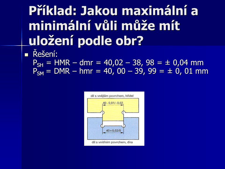Příklad: Jakou maximální a minimální vůli může mít uložení podle obr? Řešení: P SH = HMR – dmr = 40,02 – 38, 98 = ± 0,04 mm P SM = DMR – hmr = 40, 00