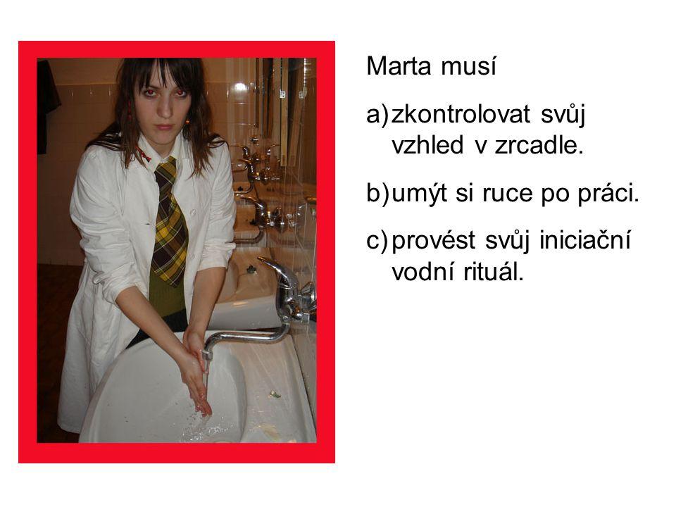 Marta musí a)zkontrolovat svůj vzhled v zrcadle. b)umýt si ruce po práci.