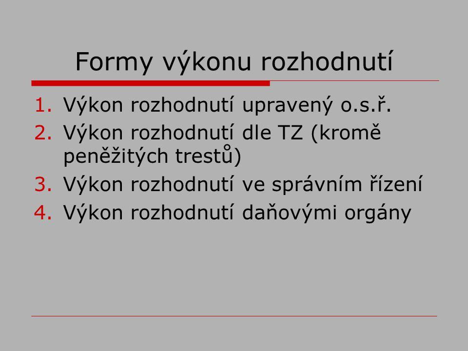 Formy výkonu rozhodnutí 1.Výkon rozhodnutí upravený o.s.ř.