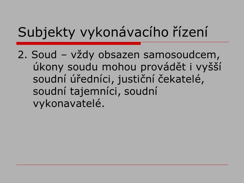 Subjekty vykonávacího řízení 2.