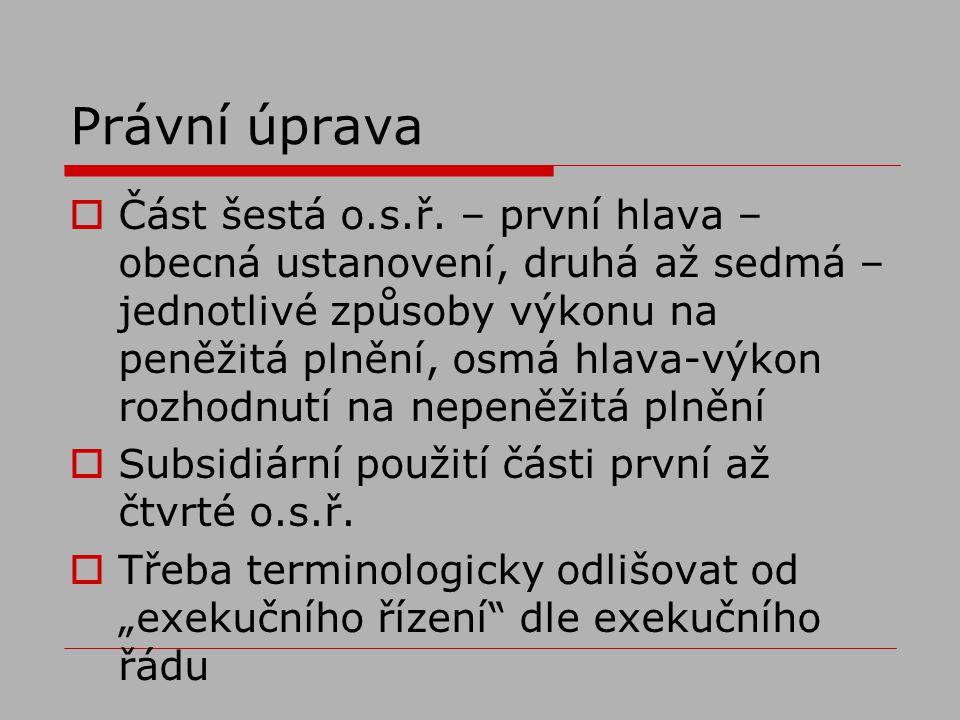 Právní úprava  Část šestá o.s.ř.