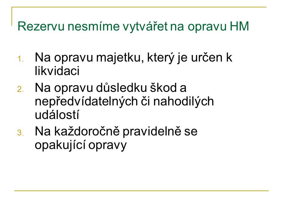 Rezervu nesmíme vytvářet na opravu HM 1. Na opravu majetku, který je určen k likvidaci 2.