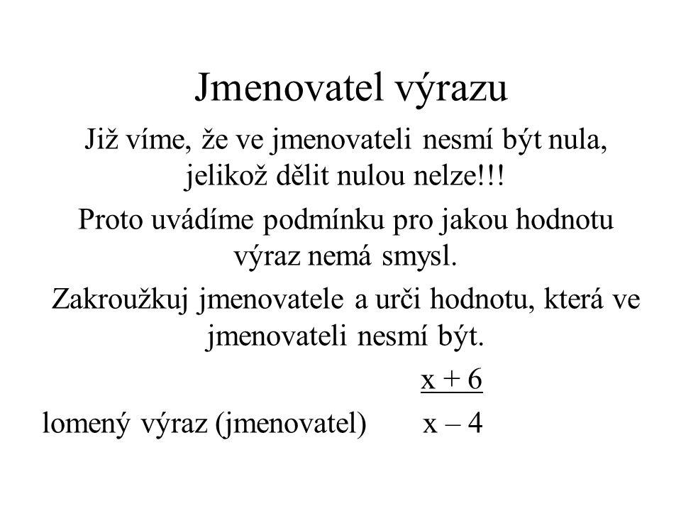 Jmenovatel výrazu Již víme, že ve jmenovateli nesmí být nula, jelikož dělit nulou nelze!!.