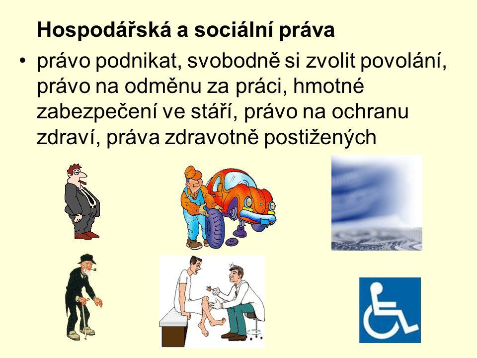 Hospodářská a sociální práva právo podnikat, svobodně si zvolit povolání, právo na odměnu za práci, hmotné zabezpečení ve stáří, právo na ochranu zdra