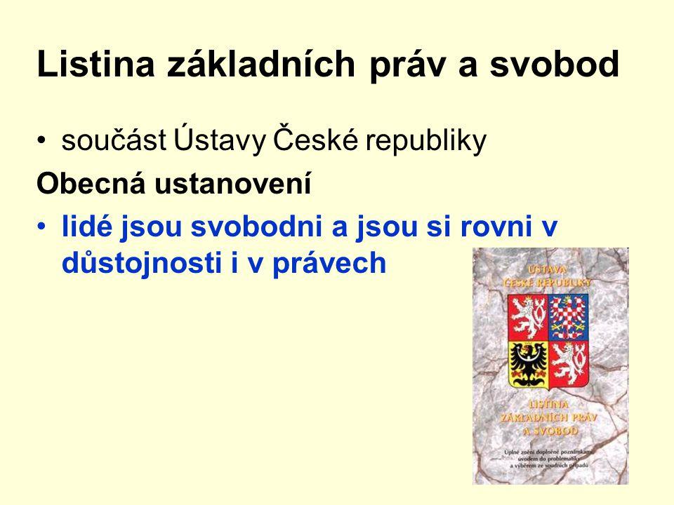 Listina základních práv a svobod součást Ústavy České republiky Obecná ustanovení lidé jsou svobodni a jsou si rovni v důstojnosti i v právech