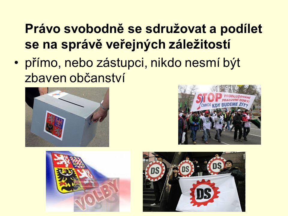 Právo svobodně se sdružovat a podílet se na správě veřejných záležitostí přímo, nebo zástupci, nikdo nesmí být zbaven občanství