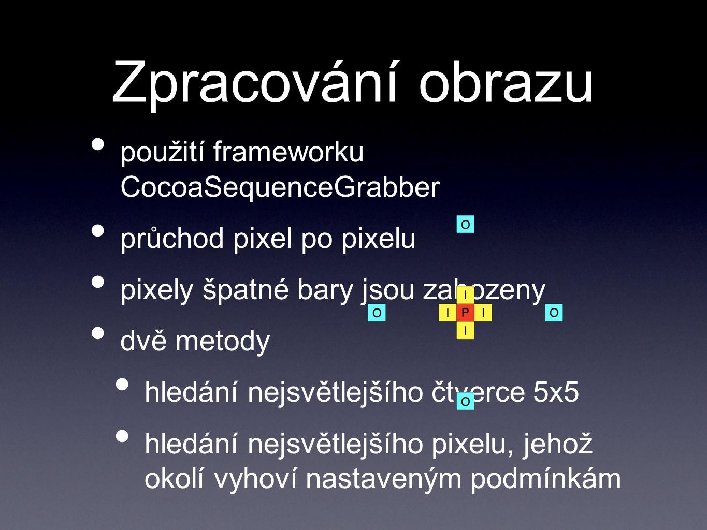 Zpracování obrazu použití frameworku CocoaSequenceGrabber průchod pixel po pixelu pixely špatné bary jsou zahozeny dvě metody hledání nejsvětlejšího č