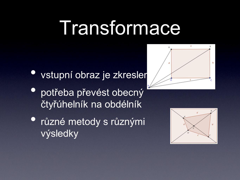 Transformace vstupní obraz je zkreslený potřeba převést obecný čtyřúhelník na obdélník různé metody s různými výsledky