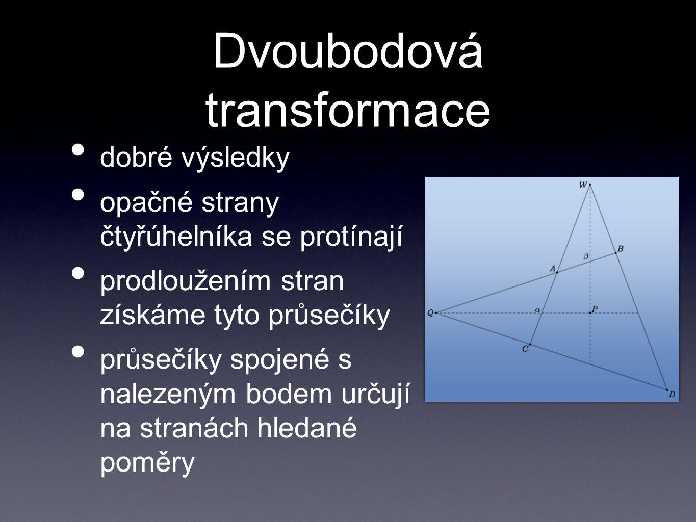 Dvoubodová transformace dobré výsledky opačné strany čtyřúhelníka se protínají prodloužením stran získáme tyto průsečíky průsečíky spojené s nalezeným