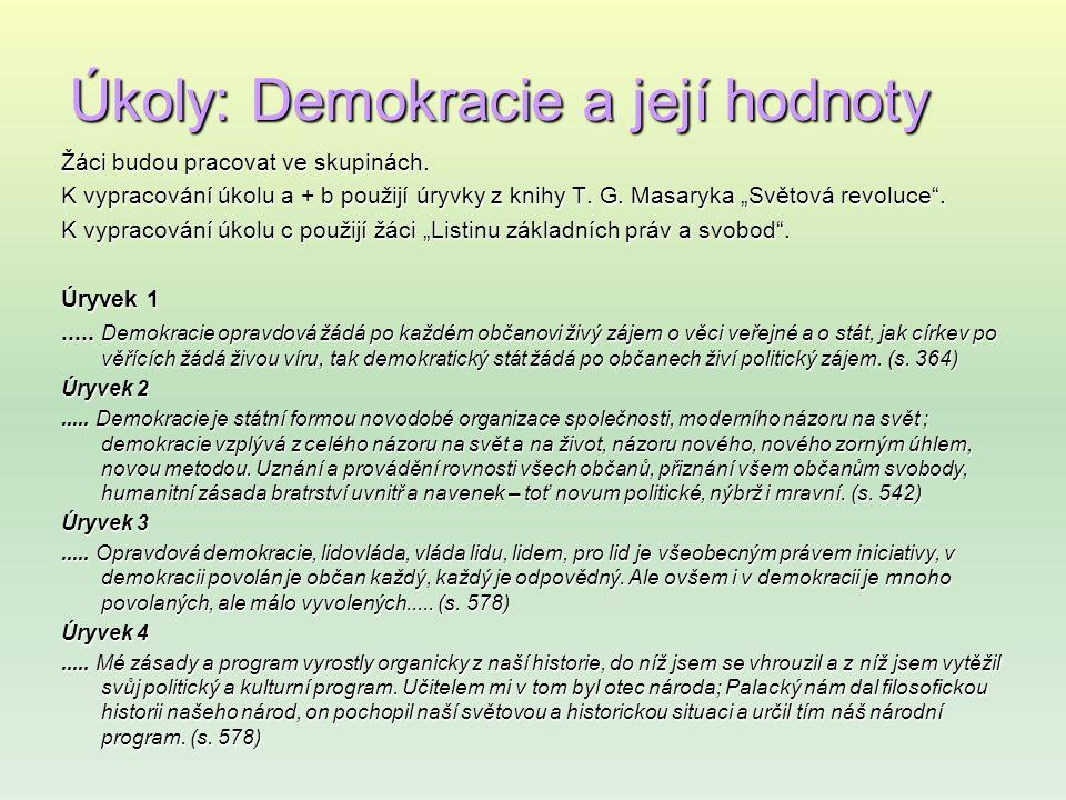 Úkoly: Demokracie a její hodnoty Žáci budou pracovat ve skupinách.