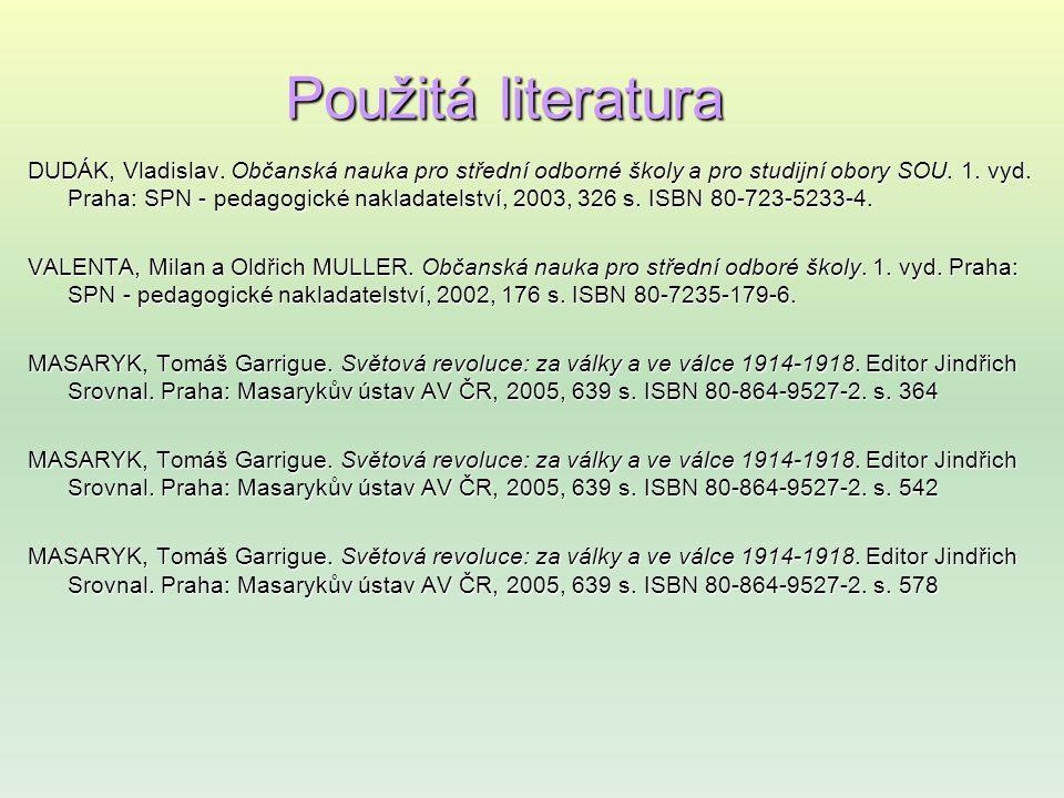 Použitá literatura DUDÁK, Vladislav.