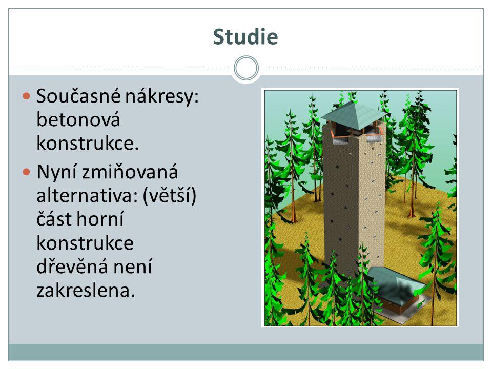 Studie Současné nákresy: betonová konstrukce. Nyní zmiňovaná alternativa: (větší) část horní konstrukce dřevěná není zakreslena.