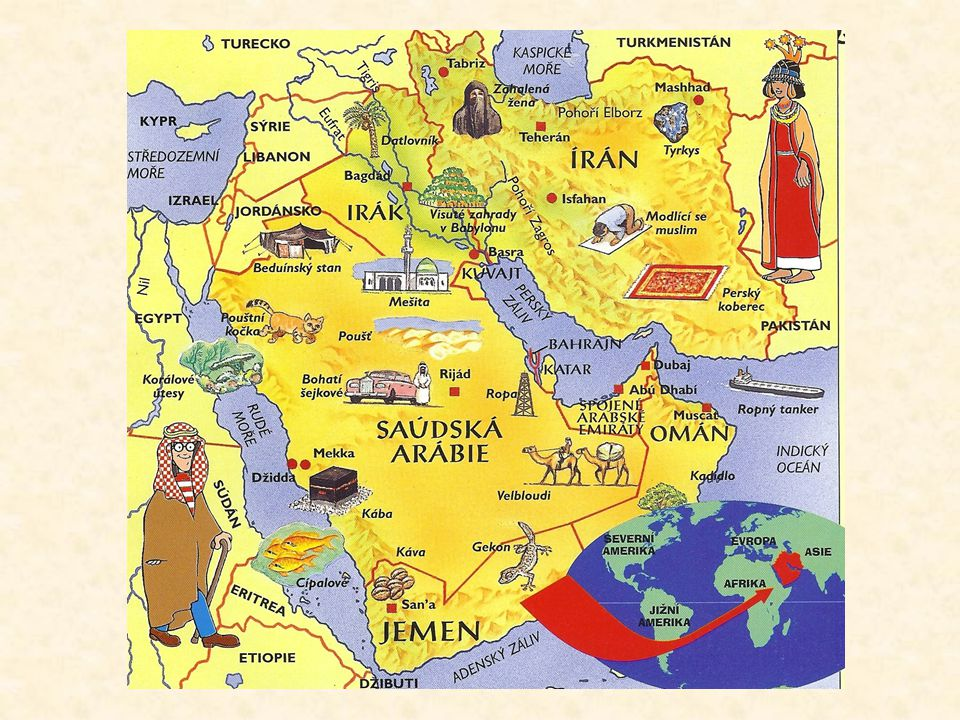 Slovníček Arábie- horká suchá země mezi Rudým mořem a Perským zálivem Mezopotámie- název části Iráku mezi řekami Eufrat a Tigris Persie-území dnešního Iránu Šejk-náčelník arabského kmene, vlastní ropná pole Tanker- loď pro převážení ropy Ropný terminál-místo odkud tankery ropu vyváží Prorok-učitel náboženství nebo člověk, který předpovídá budoucnost